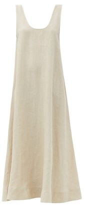 ASCENO The Capri Low-back Organic-linen Midi Dress - Light Beige