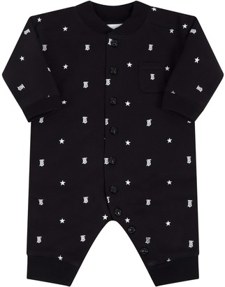 Burberry Black Babygrow For Babykids With Stars