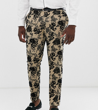 Twisted Tailor super skinny suit pant with floral flocking