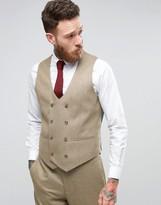 Asos WEDDING Skinny Suit Vest in Taupe Twist Micro Texture