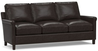 Pottery Barn Tyler Leather Roll Arm Sofa Collection With Nailheads