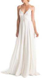 Joanna August Nancy Button Front A-Line Wedding Dress