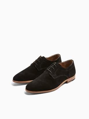 Topman Fenn Suede Derby Shoes - Black