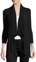 Neiman Marcus 3/4-Sleeve Open-Front Cardigan, Black