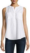 Neiman Marcus Sleeveless Flyaway Cotton Blouse, White