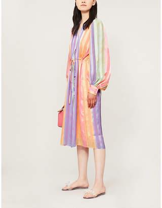 Stine Goya Violet striped devoré midi dress