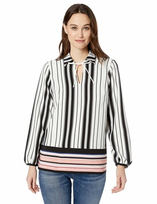 ECI New York Women's Striped Long Sleeves TOP W/Front TIE