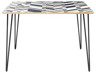 Orren Ellis Gaige Dining Table Table Top Color: Natural, Table Base Color: Black