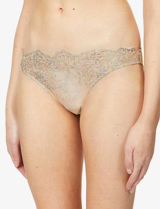 I.D. Sarrieri Floral-embroidered semi-sheer stretch-mesh briefs