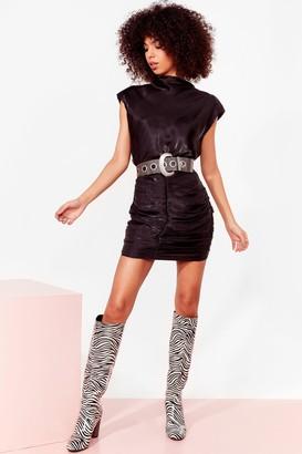 Nasty Gal Womens Sleek It Real Ruched Mini Dress - Black - 4, Black