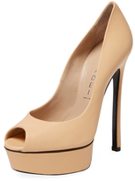 Casadei Leather Peep-Toe Platform Pump