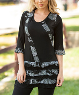 Lily Black & Gray Floral Tiered Tunic