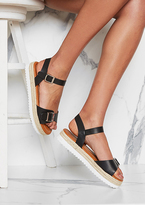 Missy Empire India Black Leather Buckle Woven Flatform Sandals