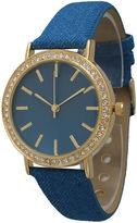 OLIVIA PRATT Olivia Pratt Womens Gold-Tone Rhinestone Accent Blue Denim Faux Leather Strap Watch 14087