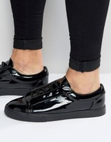 Asos Lace Up Sneakers in Black Patent
