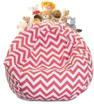 Majestic Home Goods Chevron Cotton Stuffed Animal Storage Bean Bag Chair w/ Transparent Mesh Base, Multiple Colors