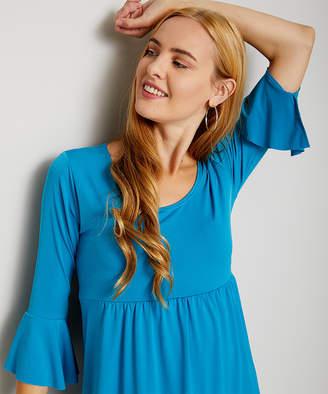 Bella Flore Women's Casual Dresses TEAL - Teal Bell-Sleeve Empire-Waist Dress - Women & Plus