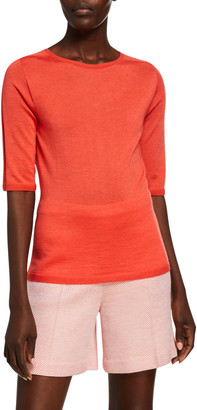 St. John Wool-Silk Jersey 1/2-Sleeve Top