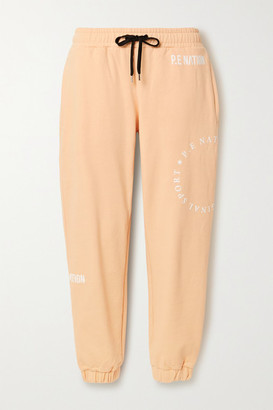 P.E Nation Field Goal Flocked Organic Cotton-jersey Track Pants - Pastel orange
