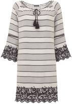 Mint Velvet Stripe Embroidered Dress