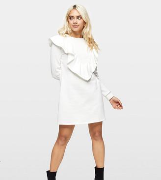 Miss Selfridge Petite ruffle detail sweatshirt dress in ivory