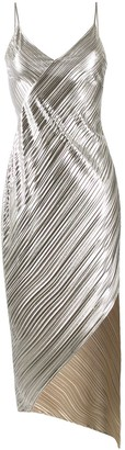 David Koma Metallic Pleated Dress