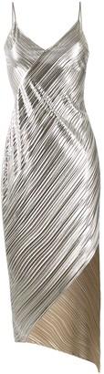 David Koma Metallic Pleated Dress