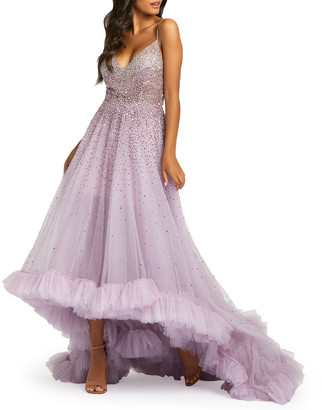 Mac Duggal Bead Embellished High-Low Ruffle Trim Tulle Gown