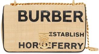 Burberry Sm Lola Print Coated Raffia Bag