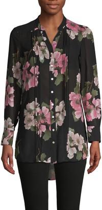 Nanette Lepore Nanette Floral-Print Long-Sleeve Shirt