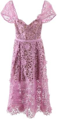 Self-Portrait Off-shoulder Midi Lace Dress