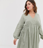 Asos DESIGN Curve v front v back mini smock dress in texture with long sleeves