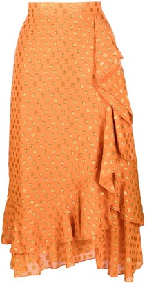 L'Autre Chose Embellished Asymmetric Midi Skirt