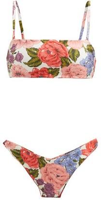 Zimmermann Poppy Floral-print Jersey Bandeau Bikini - White Print