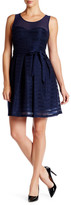 GUESS Belted Fit & Flare Sheer Dress