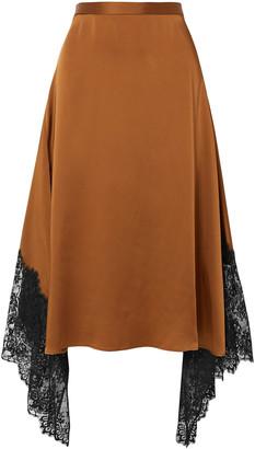 Christopher Kane Asymmetric Chantilly Lace-trimmed Satin Midi Skirt