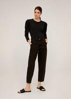 MANGO Puffed sleeves T-shirt black - XS - Women