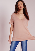 Missguided Petite Boyfriend V Neck T Shirt Nude