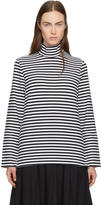 Hyke Navy and White Striped Turtleneck