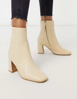 Topshop leather ankle boot in buttermilk