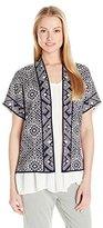Lucky Brand Women's Geometric Short-Sleeve Cardigan