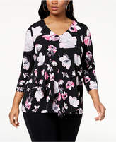 Alfani Plus Size Printed Draped Overlay Top, Created for Macy's
