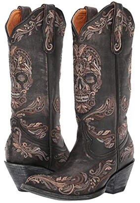 Old Gringo Dulce Calavera (Beige/Black) Cowboy Boots
