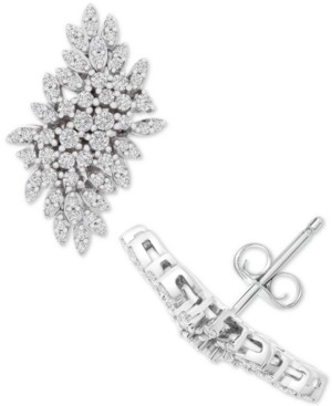 Wrapped in Love Diamond Cluster Statement Earrings (1 ct. t.w.) in 14k White Gold, Created for Macy's