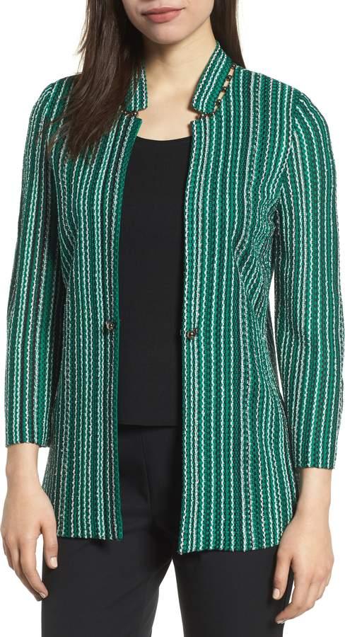 Ming Wang Stripe Jacquard Knit Jacket