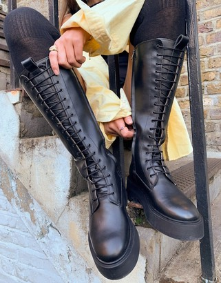 And other stories & leather tall lace-up chunky flat boots in black