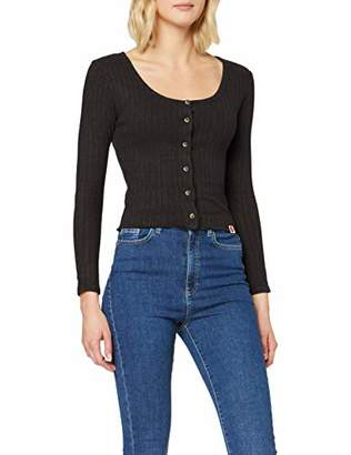 Superdry Women's Button Through Rib Top Long Sleeve,16 (Size: X-Large)