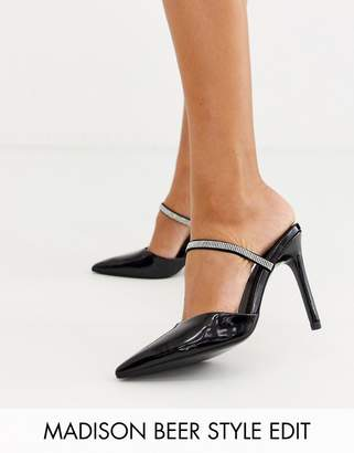 Asos Design DESIGN Power Up rhinestone high heeled mules in black patent