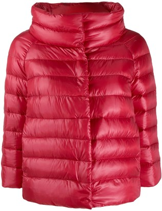 Herno Cropped Quilted Zipped Jacket