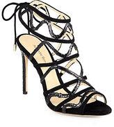 Alexandre Birman Strappy Python & Suede Sandals